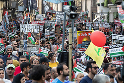 © Licensed to London News Pictures. 10/06/2018. London, UK. The annual Al Quds day march in support of the Palestinian cause, in central London. Photo credit: Joel Goodman/LNP