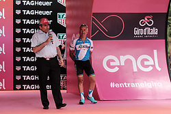 May 4, 2018 - Jerusalem, Israel - ZEEV ELKIN, Minister of Jerusalem Affairs, welcomes participants and spectators as the 101st edition of Giro d'Italia, the Corsa Rosa, begins today in Jerusalem, history being made with the first ever Grand Tour start outside of Europe. Competing riders set out for the 9.7Km Jerusalem Individual Time Trial Stage 1. (Credit Image: © Nir Alon via ZUMA Wire)