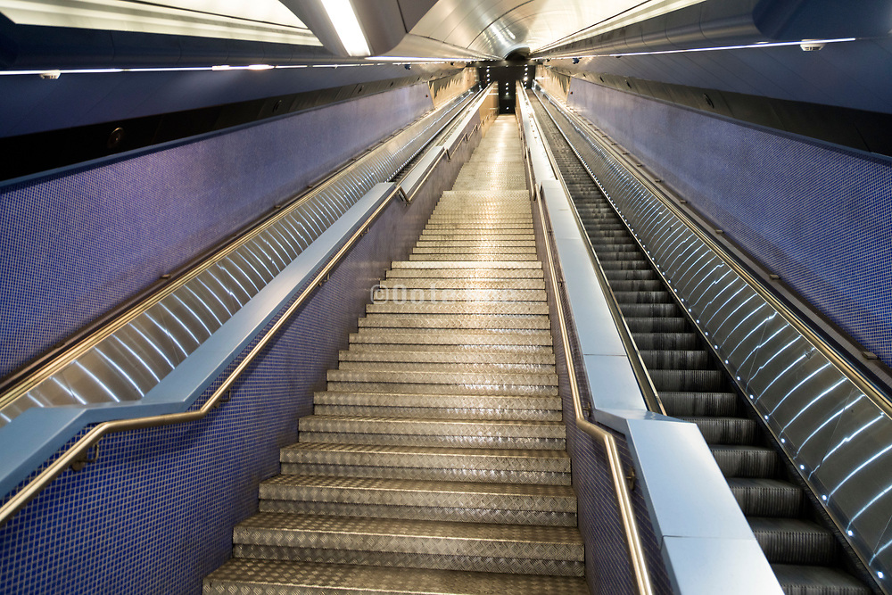 very long stairs and escalator in the Toledo metro station Naples Italy