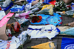 """Supporters pay tribute at Leicester City Football Club. Leicester Chairman, Vichai Srivaddhanaprabha, was among those to have tragically lost their lives on Saturday evening when a helicopter carrying him and four other people crashed outside King Power Stadium. PRESS ASSOCIATION Photo. Picture date: Monday October 29, 2018. Broken-hearted Leicester have paid tribute to """"a great man"""" following the death of billionaire owner Vichai Srivaddhanaprabha in a helicopter crash close to the King Power Stadium. See PA story SOCCER Leicester. Photo credit should read: Mike Egerton/PA Wire"""