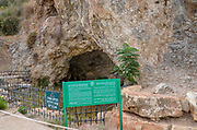 """Israel, Jezreel Valley, The Cave of Gideon at Maayan Harod the Spring of Harod National Park. The spring at Harod is believed to be the """"well of Harod"""" at which Gideon selected the three hundred men with whom he defeated the Midianites (Judges 7,5-7)"""