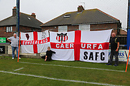 The South Shields Branch of the Sunderland Supporters Group arrive for the Pre-Season Friendly match between Whitby Town and U23 Sunderland at Turnbull Ground, Whitby, United Kingdom on 31 July 2021.