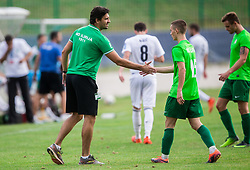 Stanko Bozicevic, coach of ND Ilirija, Gasper Hrovat of ND Ilirija during football match between ND Ilirija 1911 and NK Krsko in 1st Round of Slovenian Football Cup 2017/18, on August 16, 2017 in Stadium Ilirija, Ljubljana, Slovenia. Photo by Vid Ponikvar / Sportida