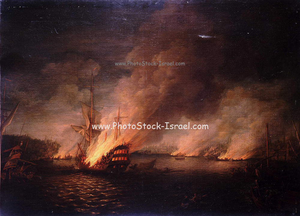 A scene after nightfall, showing Sir John Thomas Duckworth's action in the Dardanelles 19 February 1807 Burning of the Turkish ships By Thomas Whitcombe (possibly 19 May 1763 – c. 1824) was a prominent British maritime painter of the Napoleonic Wars. Among his work are over 150 actions of the Royal Navy, and he exhibited at the Royal Academy, the British Institution and the Royal Society of British Artists. His pictures are highly sought after today.