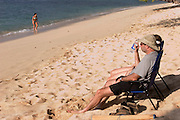 Phillip Greenspun relaxing at Pu'u Kala beach, Big Island of Hawaii.