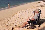 Phillip Greenspun relaxing at Pu'u Kala beach, Big Island of Hawaii.