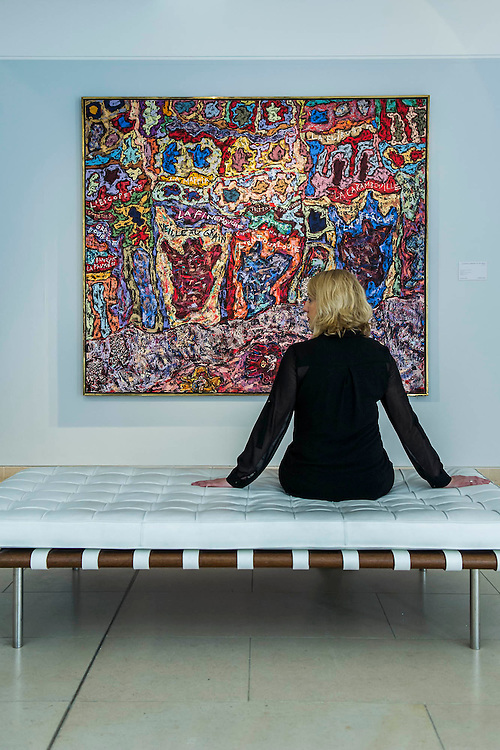 """Jean Dubuffet, Paris Polka 1961, est $25m - Preview of almost fifty works from Christie's spring sales in New York of Impressionist, Modern, Post-War And Contemporary Art. The most expensive work is Les femmes d'Alger (Version """"O""""), 1955, by Pablo Picasso (1881-1973), estimate $140million. Other highlights include: Pablo Picasso (1881-1973), Femme à la résille, 1938 (est $55 million); Mark Rothko (1903 -1970), No. 36 (Black Stripe), 1958 (est: $30-50 million); Andy Warhol (1928-1987), Colored Mona Lisa, 1963 (est $40 million); Claude Monet (1840-1926), Le Parlement, soleil couchant, 1902 (est: $35-45 million); Jean Dubuffet, Paris Polka, 1961 (est $25 million); Piet Mondrian (1872-1944), Composition No.III (Composition with Red, Blue, Yellow and Black), 1929 (est: $15-25million); and Amedeo Modigliani (1884-1920), Portrait de Béatrice Hastings, 1916 (est $7-10million) from the Collection of John C. Whitehead. The works will be on view to the public from 11 to 16 April at Christie's King Street, London."""