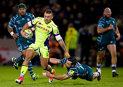 Mark Jennings of Sale Sharks is tackled by Alex Lewington of London Irish - Mandatory by-line: Matt McNulty/JMP - 15/09/2017 - RUGBY - AJ Bell Stadium - Sale, England - Sale Sharks v London Irish - Aviva Premiership