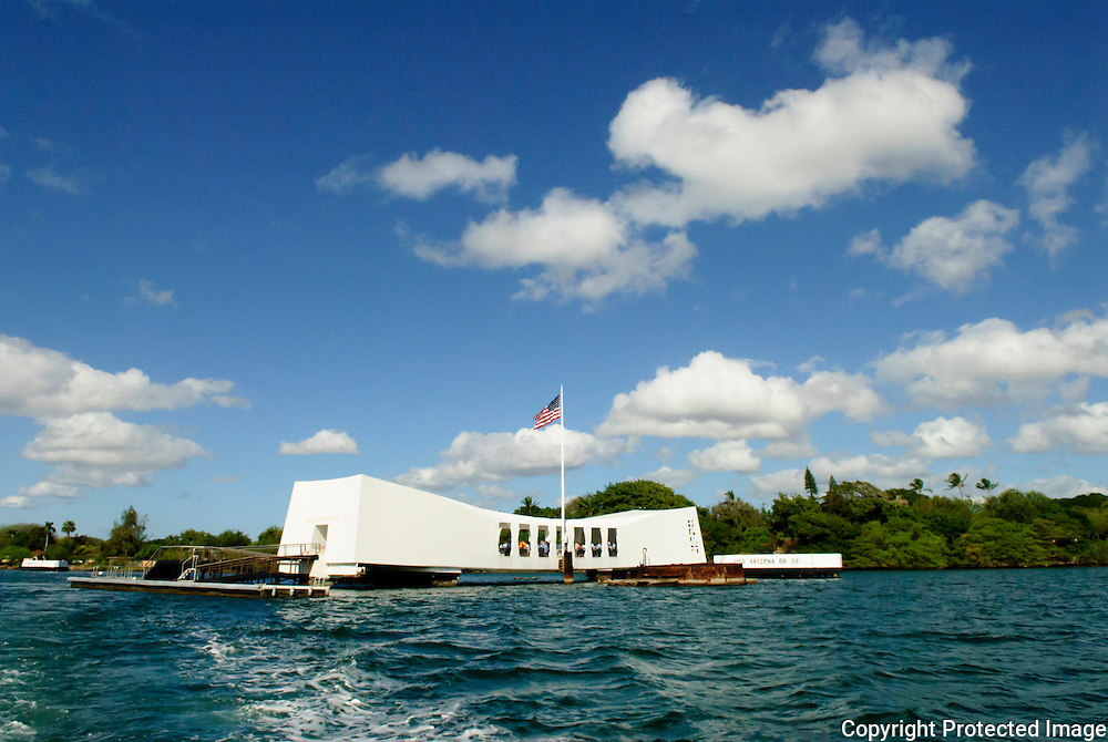 USS Arizona Memorial as seen from the water.