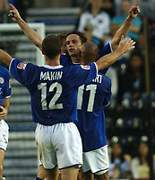 Photo: Daniel Hambury<br /> The Coca Cola Championship<br /> Derby County V Leicester City 11/08/2004<br /> <br /> Leicester City's  Lilian Nalis (facing) celebrates his goal<br /> <br /> NORWAY ONLY