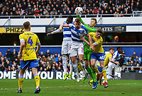 Football - 2018 / 2019 FA Cup - Third Round: Queens Park Rangers vs. Leeds United<br /> <br /> Leeds United's Bailey Peacock-Farrell battles for the ball with Queens Park Rangers' Jake Bidwell, at Loftus Road.<br /> <br /> COLORSPORT/ASHLEY WESTERN