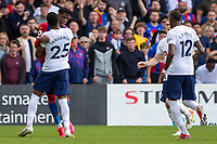 Football - 2021/2022  Premier League - Crystal Palace vs Tottenham Hotspur - Selhurst Park  - Saturday 11th September 2021.<br /> <br /> Tempers flare as Japhet Tanganga (Tottenham Hotspur) and Wilfried Zaha (Crystal Palace) confront each other shortly before the Tottenham player was sent off for his second yellow card at Selhurst Park.<br /> <br /> COLORSPORT/DANIEL BEARHAM