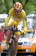 FRANCE 21st JULY 2007: Mikael Rassmussen during stage 13 of the Tour de France cycle race. This stage was a time trial.