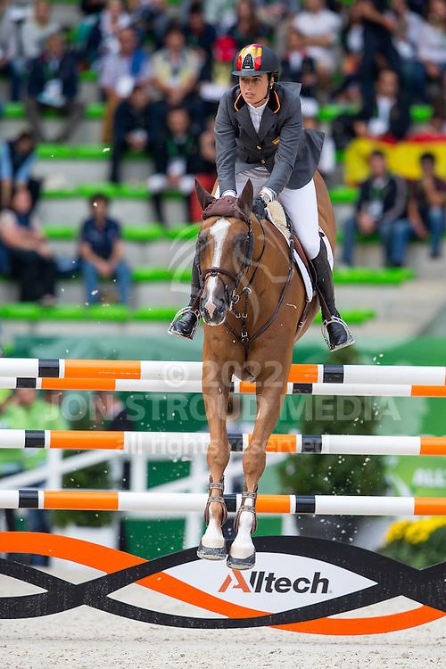 Pilar Lucrecia Cordon, (ESP), Nuage Bleu - Team & Individual Competition Jumping Speed - Alltech FEI World Equestrian Games™ 2014 - Normandy, France.<br /> © Hippo Foto Team - Leanjo De Koster<br /> 02-09-14
