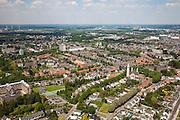 Nederland, Limburg, Gemeente Maastricht, 27-05-2013; Overzicht westelijk deel van Maastricht  wijk Brusselsepoort, Mariaberg in Maastricht met centraal midden in de achtergrond (de Sint-Lambertuskerk aan) het Koningin Emmaplein, links de Juvenaatskapel van de Broeders van Maastricht aan de Tongerseweg. Midden links de wijk Mariaberg.<br /> View on the residential districts in the western part of the city of Maastricht, right the river Maas, left the monastery on the N278 (Tongerseweg).<br /> luchtfoto (toeslag op standaardtarieven);<br /> aerial photo (additional fee required);<br /> copyright foto/photo Siebe Swart.