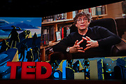 Neil Gaiman speaks at TED2019: Bigger Than Us. April 15 - 19, 2019, Vancouver, BC, Canada. Photo: Bret Hartman / TED