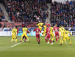 STYLEPREPENDGyasi Zardes (11) of Columbus Crew SC controls air ball during 2nd leg MLS Cup Eastern Conference semifinal game against Red Bulls at Red Bul Arena Red Bulls won 3 - 0 agregate 3 - 1 and progessed to final  (Credit Image: © Lev Radin/Pacific Press via ZUMA Wire)
