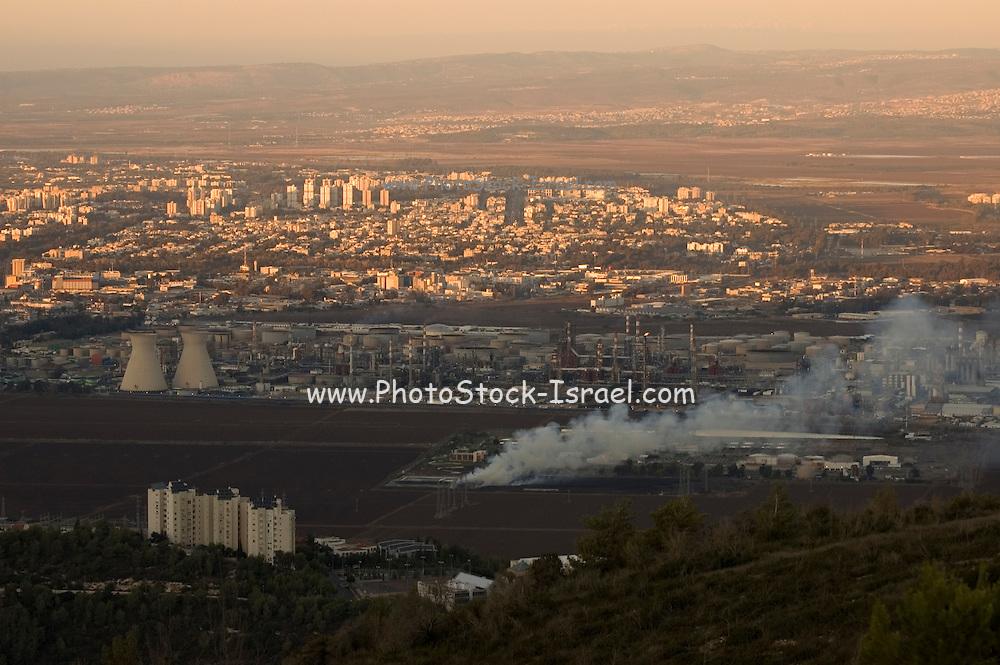 Israel, Bay of Haifa, general view of the industrial area November 2007