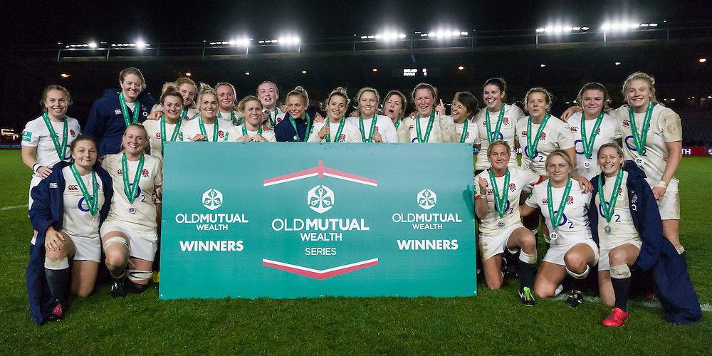 England Women with their medals for winning the first match of the Old Mutual Wealth series, England Women v France Women in an Old Mutual Wealth Series, Autumn International match at Twickenham Stoop, Twickenham, England, on 9th November 2016. Full Time score 10-5