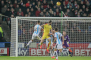 Rotherham get a header on target, but saved comfortably this time during the Sky Bet Championship match between Huddersfield Town and Rotherham United at the John Smiths Stadium, Huddersfield, England on 15 December 2015. Photo by Mark P Doherty.