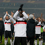 Besiktas's Demba Ba celebrate victory during the UEFA Europa League Round of 32 second leg soccer match Besiktas between Liverpool at Ataturk Olimpiyat stadium in Istanbul Turkey on Thursday February 26, 2015. Photo by Aykut AKICI/TURKPIX