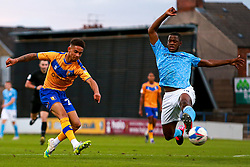 Tyrese Sinclair of Mansfield Town shoots at goal - Mandatory by-line: Ryan Crockett/JMP - 08/09/2020 - FOOTBALL - One Call Stadium - Mansfield, England - Mansfield Town v Manchester City U21 - Leasing.com Trophy