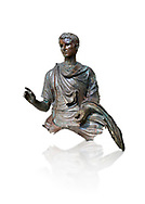 Roman bronze statue fragment of emperor Augustus, Circa 12-10 BC,  found in the Agean sea of  the Island of Euboea, Athens National Archaeological Museum. cat no X 23322. Against white.<br /> <br /> The emperor Augustus is depicted in mature age mounting a horse. He wears a tunica with verivle purple stripes (clavus purpurea) fringed with a meander pattern. Icongraphic features of bthe Prima Porta and Actuim type of statue are incorporated in this brnze statue. The right hand is raised in a gesture of offical greeting and the left hand held the horses reigns. A ring on the finger gears has engraved the symbol of Pontifles Maximus assumed by Augustus in 12 BC .<br /> <br /> If you prefer to buy from our ALAMY STOCK LIBRARY page at https://www.alamy.com/portfolio/paul-williams-funkystock/greco-roman-sculptures.html . Type -    Athens    - into LOWER SEARCH WITHIN GALLERY box - Refine search by adding a subject, place, background colour, etc.<br /> <br /> Visit our ROMAN WORLD PHOTO COLLECTIONS for more photos to download or buy as wall art prints https://funkystock.photoshelter.com/gallery-collection/The-Romans-Art-Artefacts-Antiquities-Historic-Sites-Pictures-Images/C0000r2uLJJo9_s0