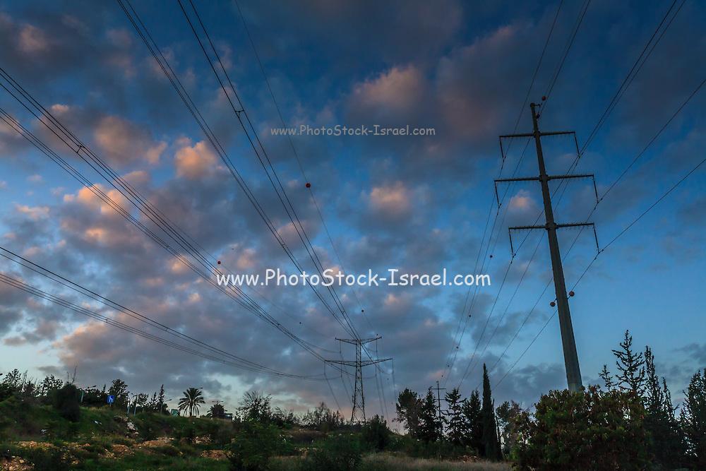 Power Pylons at Dawn Photographed near Rosh Haayin, Israel