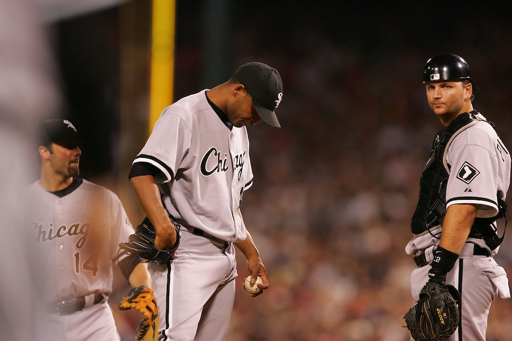 BOSTON - OCTOBER 7:  Damaso Marte of the Chicago White Sox is removed from Game 3 of the American League Divisional Series against the Boston Red Sox at Fenway Park on October 7, 2005 in Boston, Massachusetts.   The White Sox defeated the Red Sox 5-3 to sweep the Red Sox and advance to the American League Championship Series.