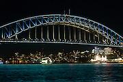 View of Sydney Harbour Bridge during Vivid Sydney 2016