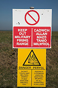 Keep Out military firing range sign in English and Welsh language