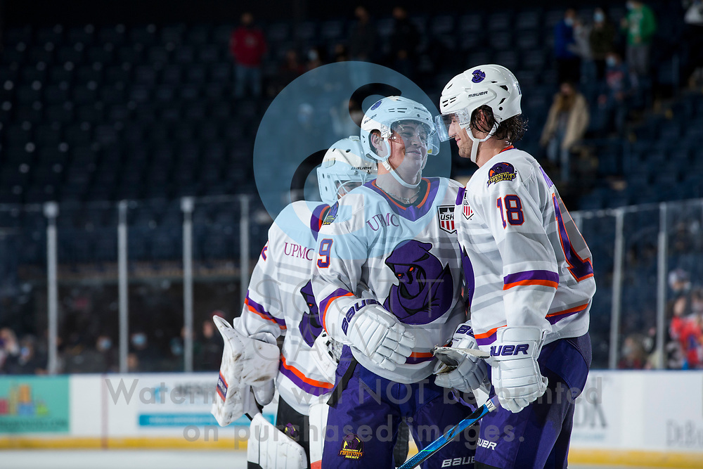 Youngstown Phantoms defeat the Muskegon Lumberjacks 4-3 in overtime at the Covelli Centre on December 5, 2020.<br /> <br /> Ben Schoen, forward, 19; Jack Malone, forward, 18