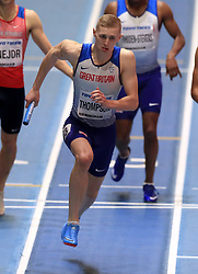 Great Britain's Lee Thompson in action during the Men's 4x400m final during day four of the 2018 IAAF Indoor World Championships at The Arena Birmingham. PRESS ASSOCIATION Photo. Picture date: Sunday March 4, 2018. Photo credit should read Simon Cooper/PA Wire.