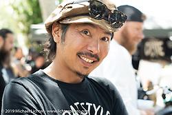 Japanese custom bike builder Go Takamine at the Born Free chopper show. Silverado, CA. USA. Saturday June 23, 2018. Photography ©2018 Michael Lichter.
