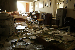 A destroyed office inside the Canal Hotel in Baghdad, Iraq on Aug. 21, 2003. Earlier in the week a cement truck packed with explosives detonated outside the offices of the UN headquarters in Baghdad, Iraq, killing 20 people and devastating the facility in an unprecedented suicide attack against the world body. At least 100 people were wounded.