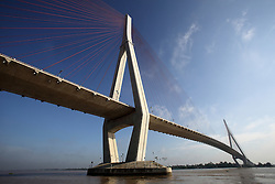 View of Cantho cable-stay bridge over the Bassac River, Can Tho City, Vinh Long Province, Vietnam