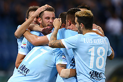 September 20, 2017 - Rome, Italy - Stefan de Vrij of Lazio celebrating with the teammates after the goal scored  during the Serie A match between SS Lazio and SSC Napoli at Stadio Olimpico on September 20, 2017 in Rome, Italy. (Credit Image: © Matteo Ciambelli/NurPhoto via ZUMA Press)