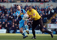 Photo: Kevin Poolman.<br />Wycombe Wanderers v Walsall. Coca Cola League 2. 17/03/2007. Walsall keeper Clayton Ince (R) just gets to the ball before Scott McGleish of Wycombe.
