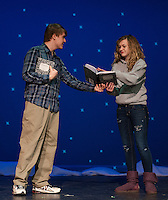 """Steve (Alec Medine) asks Marvalyn (Cordelia Penney) to write down """"What Hurts"""" during the scene for """"Almost, Maine"""" with Gilford High School's Performing Arts Tuesday afternoon.  (Karen Bobotas/for the Laconia Daily Sun)"""