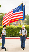 JROTC members post the colors during a groundbreaking ceremony for new Sam Houston Math, Science and Technology Center School, March 24, 2017.