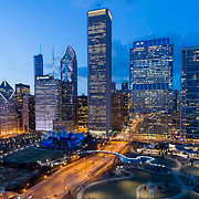 Chicago Loop, Maggie Daley Park, Pritzker Pavilion, Aon Tower, Vista Tower under construction