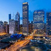 Chicago Loop, Maggie Daley Park, Pritzker Pavilion, Aon Tower, Vista Tower under construction