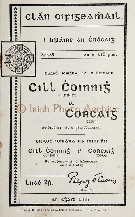 All Ireland Senior Hurling Championship Final, .Brochures,.03.09.1939, 09.03.1939, 3rd September 1939,.Kilkenny 2-7, Cork 3-3, .Minor Kilkenny v Cork,.Senior Kilkenny v Cork, .Croke Park, 0391939AISHCF,