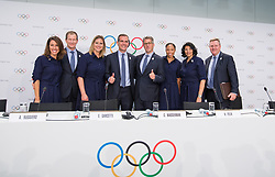 LAUSANNE, July 11, 2017  Eric Garcetti (4th L), Mayor of Los Angeles, attends a press conference after the presentation of the Los Angeles 2024 Candidate City Briefing for International Olympic Committee (IOC) members at the SwissTech Convention Centre, in Lausanne, Switzerland, July 11, 2017. (Credit Image: © Xu Jinquan/Xinhua via ZUMA Wire)