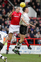 Photo: Paul Thomas. Nottingham Forest v Derby County. Forest Ground, Nottingham. Coca Cola Championship. 26/02/2005. Andy Melville and Grzegorz Rasiak.
