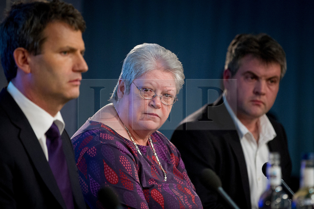 © Licensed to London News Pictures. 29/11/2012. London, UK. Hacking victim Jane Winter (centre) is seen with Milly Dowler's family lawyer, Mark Lewis (left), and journalist Ed Blum are seen at a press conference in London today (29/11/12) called by campaign group 'Hacked Off' as a reaction to the publishing of the Leveson Inquiry. Photo credit: Matt Cetti-Roberts/LNP