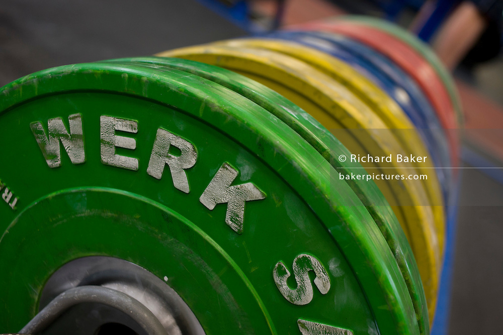 Barbell weights at the Sports Institute, University of Ulster, Northern Ireland.