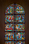 Medieval stained glass Window of the Gothic Cathedral of Chartres, France - dedicated to the Passion.  A UNESCO World Heritage Site.. .<br /> <br /> Visit our MEDIEVAL ART PHOTO COLLECTIONS for more   photos  to download or buy as prints https://funkystock.photoshelter.com/gallery-collection/Medieval-Middle-Ages-Art-Artefacts-Antiquities-Pictures-Images-of/C0000YpKXiAHnG2k