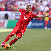 Osman Tank Camdal, Turkey, in action during the US Men's National Team Vs Turkey friendly match at Red Bull Arena.  The game was part of the USA teams three-game send-off series in preparation for the 2014 FIFA World Cup in Brazil. Red Bull Arena, Harrison, New Jersey. USA. 1st June 2014. Photo Tim Clayton