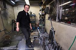 Keiji Kawakita at his Hot Dock Custom Cycles. Tokyo, Japan. Wednesday, December 10, 2014. Photograph ©2014 Michael Lichter.